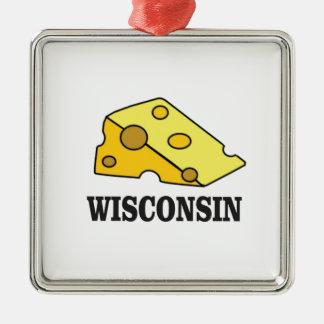 Ornement Carré Argenté Tête de fromage du Wisconsin