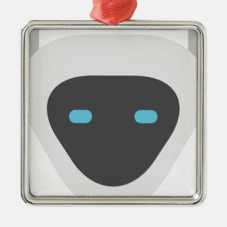 Ornement Carré Argenté Tête de robot