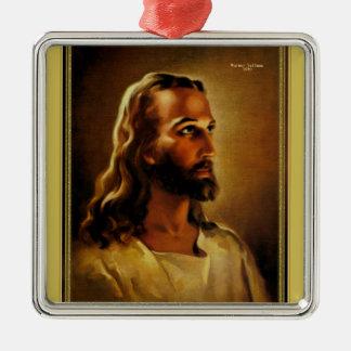 Ornement Carré Argenté Tête du Christ Jésus de Nazareth par Warner