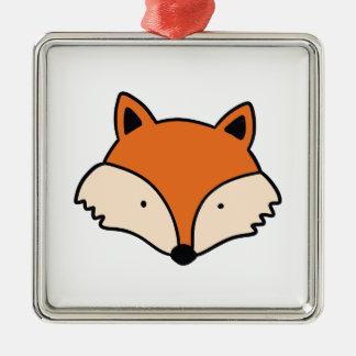 Ornement Carré Argenté Tête simple de renard