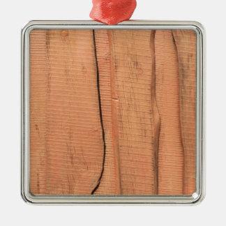 Ornement Carré Argenté Texture en bois