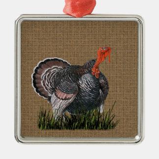 Ornement Carré Argenté Thanksgiving Turquie