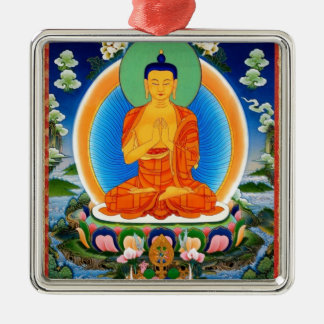 Ornement Carré Argenté Tibétain Thangka Prabhutaratna Bouddha