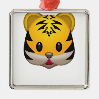 Ornement Carré Argenté Tigre mignon Emoji