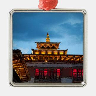 Ornement Carré Argenté Toit bouddhiste de Dzong