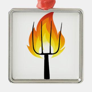 Ornement Carré Argenté Torche et fourche