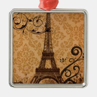 Ornement Carré Argenté Tour Eiffel romantique de Paris de damassé