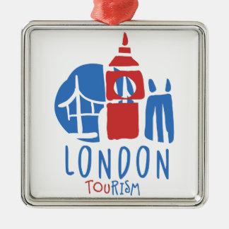 Ornement Carré Argenté Tourisme de Londres