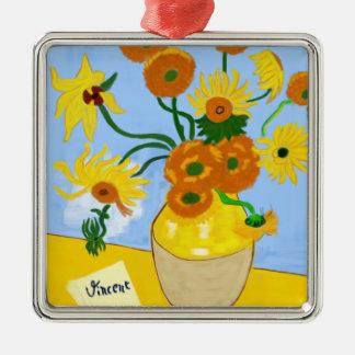 Ornement Carré Argenté Tournesols Van Gogh