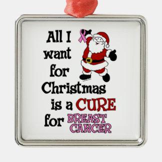 Ornement Carré Argenté Tous que je veux pour le cancer du sein de Noël…