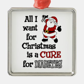 Ornement Carré Argenté Tous que je veux pour le diabète de Noël…