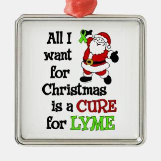 Ornement Carré Argenté Tous que je veux pour Noël… Lyme