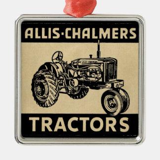 Ornement Carré Argenté Tracteur vintage de ferme