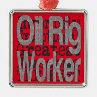 Ornement Carré Argenté Travailleur de plate-forme pétrolière