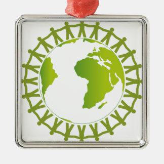 Ornement Carré Argenté Travailleurs autour du monde