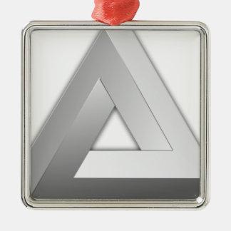 Ornement Carré Argenté Triangle de Penrose
