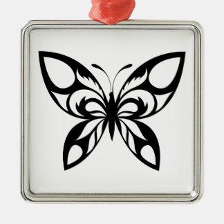 Ornement Carré Argenté Tribal-Papillon-Silhouette