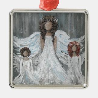Ornement Carré Argenté Trois anges