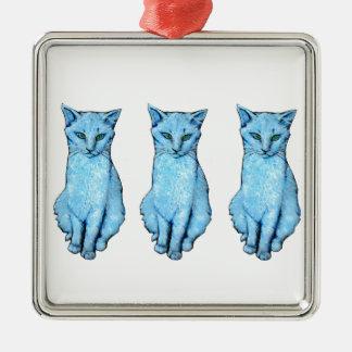 Ornement Carré Argenté Trois chats bleus