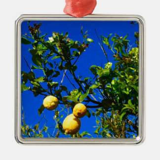Ornement Carré Argenté Trois citrons siciliens