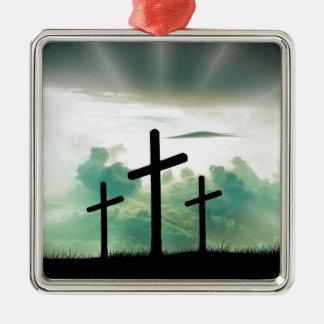 Ornement Carré Argenté Trois croix