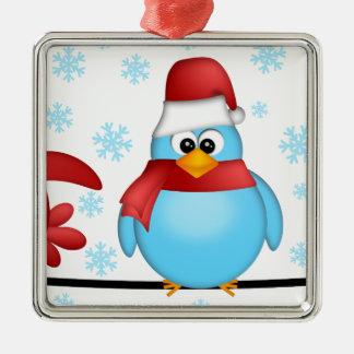 Ornement Carré Argenté Trois oiseaux de Noël sur une illustration de fil