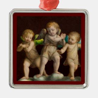 Ornement Carré Argenté Trois petits anges ou anges