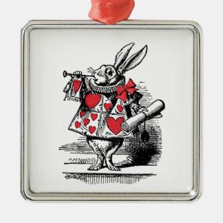 Ornement Carré Argenté Trompettiste blanc Alice de cour de lapin au pays