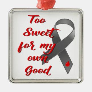 Ornement Carré Argenté Trop doux - cadeau de ruban de diabète
