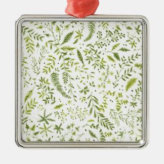 Ornement Carré Argenté Tropical green pattern