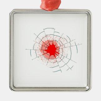Ornement Carré Argenté Trous de balle simples en verre