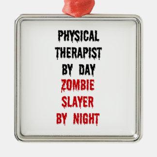 Ornement Carré Argenté Tueur de zombi de physiothérapeute