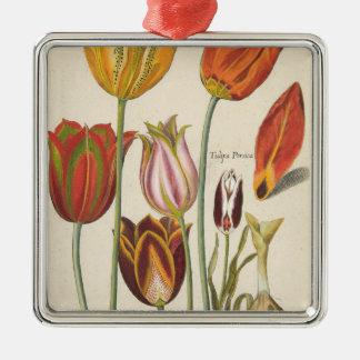 Ornement Carré Argenté Tulipes