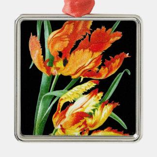 Ornement Carré Argenté Tulipes de perroquet sur le noir