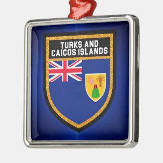 Ornement Carré Argenté Turcs et drapeau de la Caïques