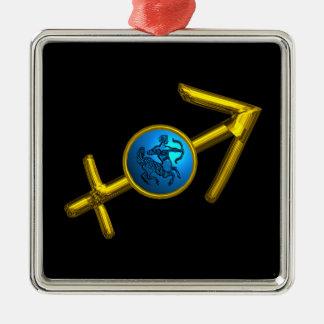 Ornement Carré Argenté Turquoise de bleu de BIJOU d'ANNIVERSAIRE de