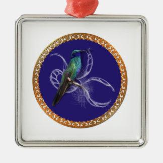 Ornement Carré Argenté Turquoise verte et bleu avec le colibri pourpre