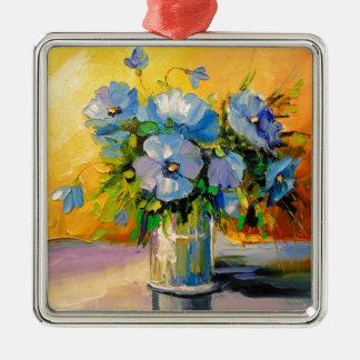 Ornement Carré Argenté Un bouquet des fleurs