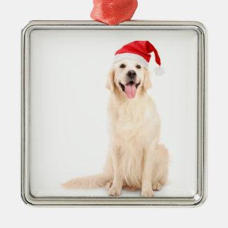 Ornement Carré Argenté Un chien utilisant un casquette de Noël