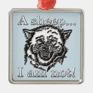 Ornement Carré Argenté Un mouton… Je ne suis pas