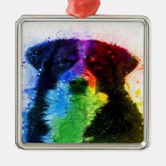 Ornement Carré Argenté Un plus grand bloc de couleur de chien de montagne
