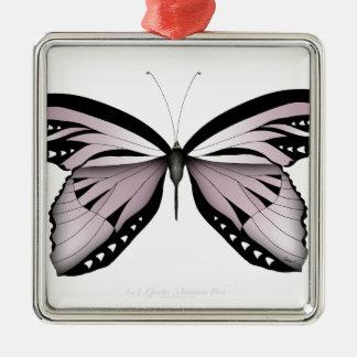 Ornement Carré Argenté Un plus grand rose de montagne de papillon rose