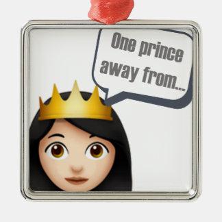 Ornement Carré Argenté un prince à partir d'Emoji