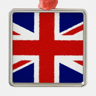 Ornement Carré Argenté Union Jack, drapeau BRITANNIQUE, bannière,