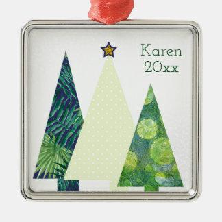 Ornement Carré Argenté Vacances d'arbres de Noël de trois Crafter à la