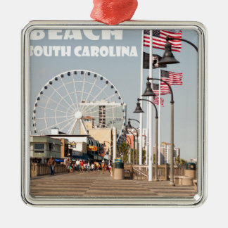 Ornement Carré Argenté Vacances de la Caroline du Sud de promenade de