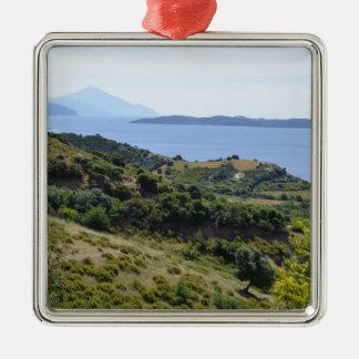 Ornement Carré Argenté Vacances de vacances de nature de la Grèce
