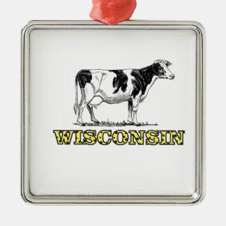 Ornement Carré Argenté Vache laitière du Wisconsin