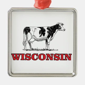 Ornement Carré Argenté vache rouge au Wisconsin