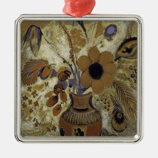 Ornement Carré Argenté Vase à Etruscan avec des fleurs